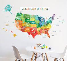 Amazon Com Wall Decal Bright Usa Map Map Wall Decor Removable Wall Decal Wall Sticker Room Decor Handmade