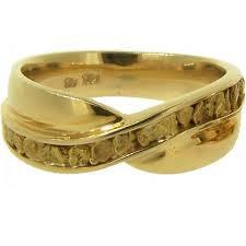 mens wedding bands gold nugget 14kt