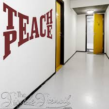 Teach Peace Wall Decal Sticker Wall Lettering Wall Decals The Simple Stencil
