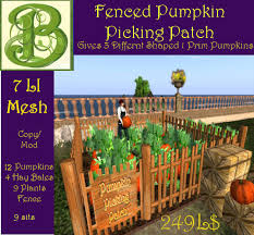 Second Life Marketplace Fenced Pumpkin Picking Patch Gives Random Gift Pumpkin With Hold To Avis V2 Mesh 7 Li