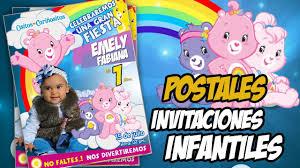 Tarjeta De Invitacion Infantil Tipo Postal Osito Carinoso Youtube