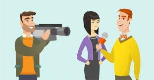 Tv entrevista vector ilustración de dibujos animados. | Vector Premium