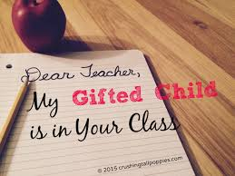 dear teacher my gifted child is in