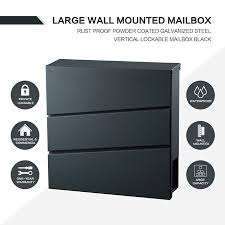 New Wall Mounted Mailbox Large Galvanized Lockable Letterbox With A Newspaper Slot Black Crazy Sales