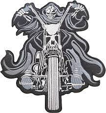 Amazon Com Heavens Tvcz Large Size Speed Riding Biker Chopper Rocker Ghost For Teen Women Men Charms Embroidered Jacket Back Patch Motorcycle Club Series Vests Skull Hog Jumbo Iron Or Sew On Emblem Badge