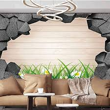 Amazon Com Wall Paper Decorations 3d Trap Planks American Style Western Rustic Wood White Daisies Growing Grass Wallpaper Photoposter 120x83 Inches 304x210 Cm For Office Kids Bedroom Nursery Family Decor Home Kitchen