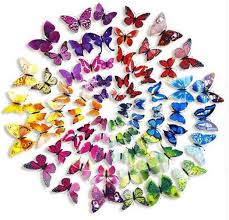 12 Pack 3d Butterfly Wall Decals Stickers Diy Blue Collection Tableclothsfactory