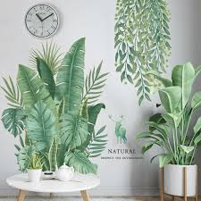 green leaves wall stickers for bedroom