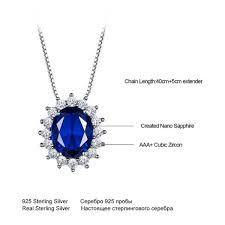 blue sapphire princess pendant necklace