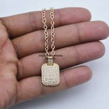 14k solid yellow gold pave diamond dog