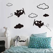 Cartoon Airplane White Clouds Wall Sticker For Kids Room Home Decor Children Bedroom Wall Decals Nursery Baby Art Sticker Mural Wall Stickers Aliexpress