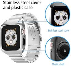 Amazon.com: HATALKIN Compatible with Apple Watch Band 44mm Series 5 and  Case, Men Stainless Steel Metal Band & Metal/Plastic Case for Iwatch 44mm  Series5 (Silver)