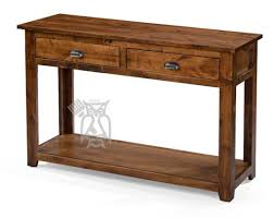 knotty rustic alder wood console table