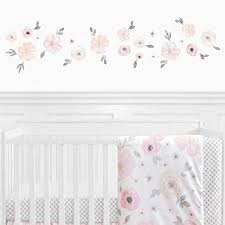 Amazon Com Blush Pink Grey And White Wall Decal Stickers For Watercolor Floral Collection By Sweet Jojo Designs Set Of 4 Sheets Baby