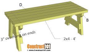 simple 2x4 garden bench plans free