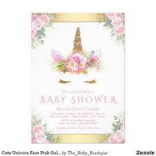 Cute Unicorn Face Pink Gold Baby Shower Invitation Zazzle Com