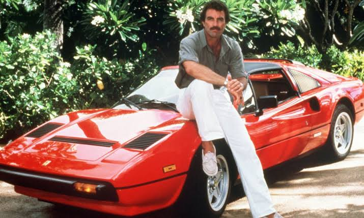 Tom Selleck With His Ferrari