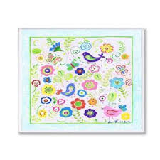 The Kids Room By Stupell Birds Butterflies And Blossoms With Blue Border Rectangle Wall Plaque