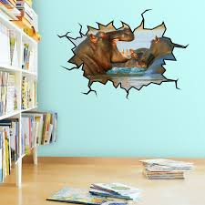 Vwaq Hippopotamus Wall Decal Art Hippo Wall Crack Hole In The Wall Mur