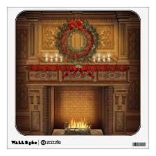 Christmas Fireplace Wall Decal Zazzle Com
