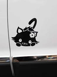 Zttzdy 16 1 16 2cm Standing Tail Cat Car Decal Lovely Calico Cat Vinyl Sticker Black Silver Zj4 0126 Car Stickers Aliexpress