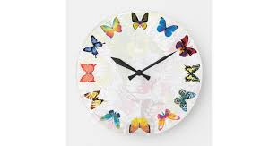 Colorful Butterfly Kids Room Wall Clock Zazzle Com