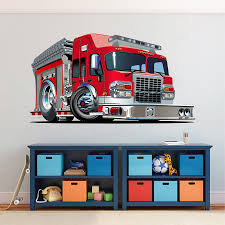Cik1544 Full Color Wall Decal Cool Fire Truck Bedroom Children S Room Stickersforlife