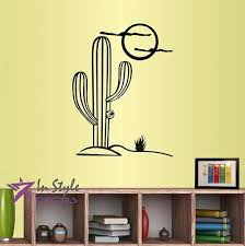 Amazon Com Wall Vinyl Decal Home Decor Art Sticker Cactus Plant Desert Sun Skyline Mexico Nature Bedroom Living Room Removable Stylish Mural Unique Design Home Kitchen