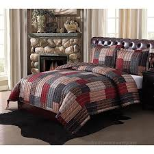 3pc red blue patchwork king size quilt