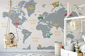 Amazon Com Murwall Kids Wallpaper World Map Wall Mural Cartoon Animal Wall Print Little Cars Wall Art Light Gray Nursery Map Wall Decor Childroom Play Room Handmade