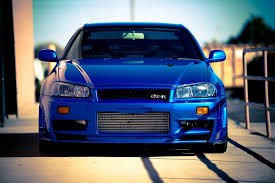 nissan skyline gtr r34 car blue tuning