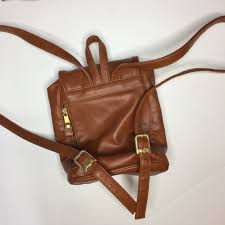 brown faux leather small backpack ny