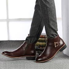 men s genuine leather ankle boots cow