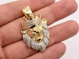 greek crown lion head charm pendant 2ct