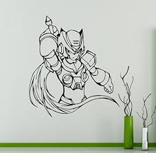 Mega Man Knight Wall Decal Game Superhero Wall Vinyl Sticker Retro Game Home Interior Children Kids Room Wall Decor 11 Mgm Baby B01bmjt558