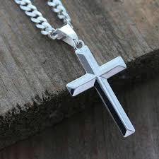 mens cross necklace sterling silver