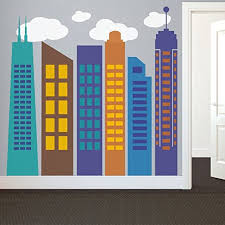 Amazon Com Bold Colorful Geometric City Wall Decal City Skyline Silhouette Wall Sticker Wall Mural Vinly Home Art Decoration D 1 Outline 2 Windows Teal 2 Outline Brown 3 6outline 1 5 Windows Blue 4 Outline 6 Windows Dark Yellow 5