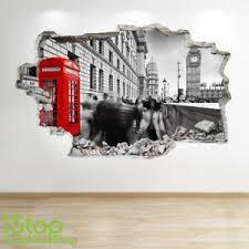London Wall Sticker 3d Look Bedroom Lounge London Eye Wall Decal Z582 Ebay