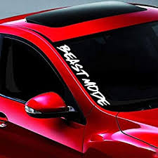 Amazon Com Noizy Graphics 20 Beast Mode 2 Jdm 4x4 Side Windshield Banner Car Sticker Truck Vinyl Decal Color Red Automotive