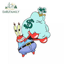 Earlfamily 13cm X 9 7cm For Sponge Bob Mr Krabs Cartoon Sticker Laptop Car Decal Waterproof 3d Custom Printing Stickers Car Stickers Aliexpress