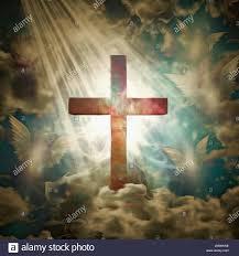Cruz cristiana en los rayos de luz. Bendición. Las moscas ...
