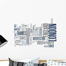 Amazon Com Wallmonkeys Abstract Postcard London Wall Decal Peel And Stick Typographic Graphics 24 In W X 19 In H Wm151517 Furniture Decor