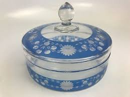 rare vintage light blue glass candy