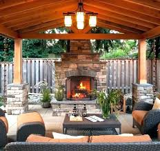 outdoor patio covered fireplace ideas
