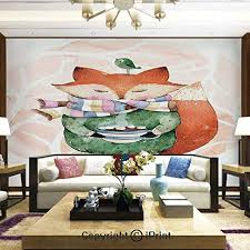 Lionpapa Mural Removable Wall Mural Ideal To Decorate Your Dining Roomcute Little Fox And Bird On His Head Tea Time Kids Nursery Friends Baby Themehome Decor 100x144 Inches Educational Toys Planet