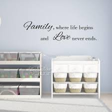 family where life begins and love never ends quote wall sticker