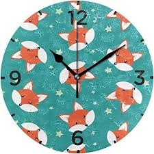 Amazon Com Retro Cute Joy Fox Head Silent Non Ticking Wall Clock For Boys Girls Battery Operated Clocks For Living Room Bedroom Child Kids Gift Home Kitchen