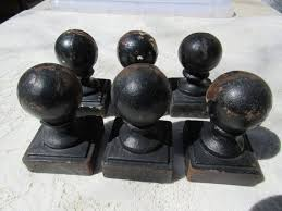 Ball Fence Toppers 6 Rustic Iron Fence Finials Cast Iron Etsy