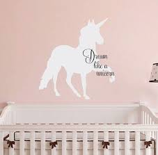 Dream Like A Unicorn Wall Decal 21 Quot H X 20 Quot W Personalized Wall Decals Wall Stickers Girl Room Unicorn Wall Decal
