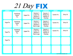 21 day fix workout calendar print a